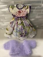 Handmade OOAK 2 Piece Smocked Dress & Mohair Sweater - Little Darling, Effner?