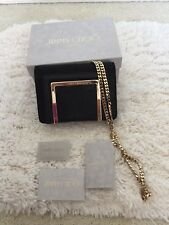 Authentic Jimmy Choo Ava Shimmer Black Mixed-Media Chain Suede Shoulder Bag Smal