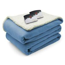 Biddeford Blankets Comfort Knit/Sherpa Electric Heated Blanket with Digital