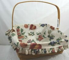 Longaberger Pie Basket with Fruit Melody Liner Single Handle 2002