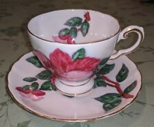 Tuscan Hawaiian Flowers Red Hibiscus Bone China English Tea Cup Saucer Set RARE