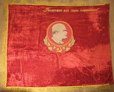 Flag Big Red Russian Soviet Banner State Emblem Vintage Lenin Embroidered Velvet