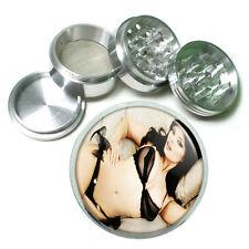 """Russian Pin Up Girl D6 Aluminum Herb Grinder 2.5"""" 63mm 4 Piece Hand Muller"""
