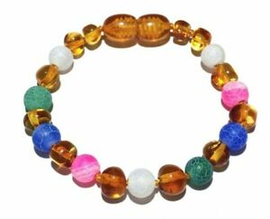 Mermaid Pink Honey Baltic Amber Girls Anklet Bracelet Blue Dragon Agate No Teeth