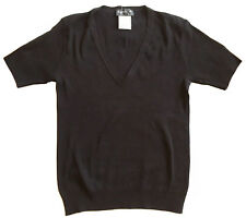 NWT AGNES B. Black 100% Combed Cotton V-Neck Short-Sleeved Knit Top Sz 1 US 2/4