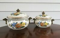 2 Vintage ASTA Germany Enamelware Cookware Floral Dutch Oven Pot w/Lid