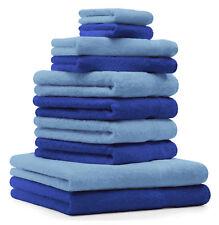 10-tlg. Handtuch Set Classic - Premium, Farbe: Royal-Blau & Hellblau, 2 Seiftüch