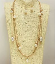 Gold and Cream Faux Pearl Layered Necklace Set