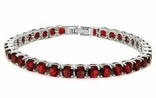 14.5CT Round Red Garnet .925 Sterling Silver Bracelet SBC1321-GN SO6-AFE