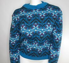 Vintage Wool Fair Isle Nordic Sweater M Teal Blue Aztec Crew Neck Roos Atkins