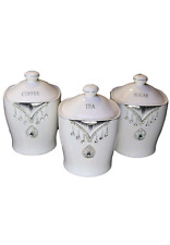 New White Tea Coffee Sugar Canisters Diamante Crystals Kitchen Pineapple Jar