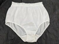 VTG Vanity Fair White Stretchy Semi Sheer Nylon Granny Briefs Panty Panties 7 L