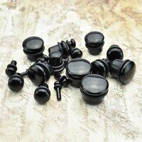 Pair of Genuine Black Onyx Organic Natural Polished Stone Ear Gauges Plugs
