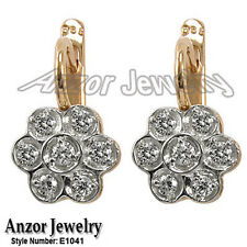 Russian style Diamond Malinka Earrings in 14k Solid Rose & White Gold #E1041
