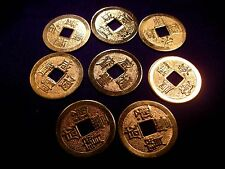 FSH038 Feng Shui Set Eight I-Ching Chinese Coins 25mm 22 Ct Gold Plated