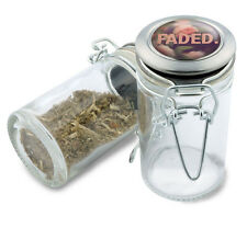 Faded Floral Wire Top Glass Stash Herb Jar w/ Air Tight Seal & Flip Top Lid