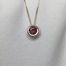 NATURAL Purplish Pink Tourmaline Gold Pendant 0.67ct Necklace Jewellery