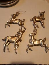 🌟 4 Silver/Gold Reindeer Christmas Ornaments