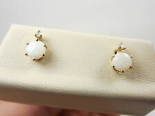PRETTY PETITE OPAL & DIAMOND POST EARRINGS 14KT YELLOW GOLD