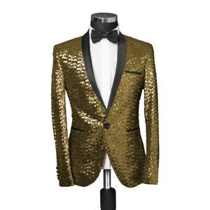 Slim Fit Pailletten Sakko in Gold -Smoking-Anzug-Bühne-Party-Herren-Jacke-Blazer