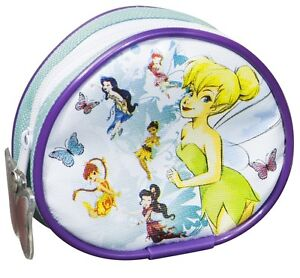 DISNEY FAIRIES TINKERBELL PRINCESS ROUND COIN PURSE WITH CHARM CHILDS KIDS GIRLS