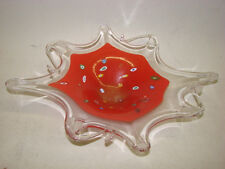 "LARGE 21"" MURANO ITALY HAND BLOWN GLASS DISH TRAY RED END OF DAY"