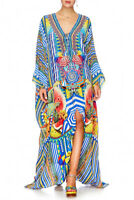 new CAMILLA FRANKS SILK SWAROVSKI BOOK A SHADE SPLIT HEM LACE UP KAFTAN