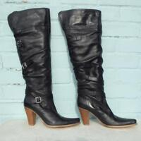 River Island Leather Boots Uk 5 Eur 38 Womens Buckles Pull on Pirate Black Boots
