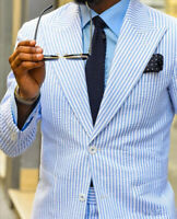 Seersucker Men Suits Striped Blue Peak Lapel Single-Breasted Blazer Jackets Coat
