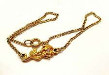 "Vintage Gold Tone Rose Ab Rhinestone Charm 9"" Figaro Chain Anklet Bracelet Avon"