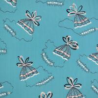 "Vintage 1940s Blue Gray Novelty Umbrella Rayon Fabric 2 1/5 yards x 35"" wide"