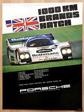 org. Porsche Plakat Renn Poster 1000 Km Brands Hatch 1985 Rothmans Porsche 962