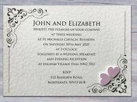 50 Wedding Invitations Evening Invites Personalised & Handmade *40 Colours*