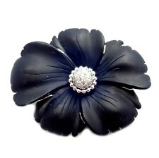 Vintage! Estate Designer 18k White Gold Black Ceramic Flower Diamond Brooch Pin