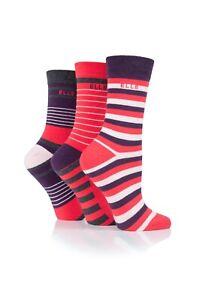 Ladies 3 pairs Elle Winter Berry Socks Striped Natural Cotton UK4-8