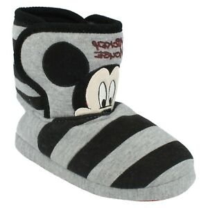 BOYS CHILDRENS DISNEY PRINCETON MICKEY MOUSE INDOOR SLIPPERS BOOT WINTER SIZE