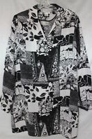 DIANE GILMAN 100% Silk Black&White Floral Button Down Shirt&Tank Womens Sz L-B77