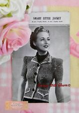 6548054453e779 Vintage 1940 s Knitting Pattern Lady s Smart Jacket Knitted In 2 Colours