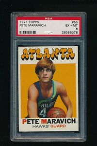 1971 Topps #55 Pete Maravich PSA 6 EX-MT Atlanta Hawks