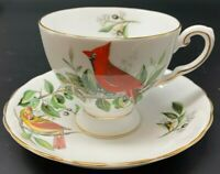 "Audubon Fine Bone China Cup and Saucer "" Cardinal "" by Tuscan England 19-968D"