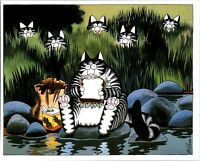 Cat Eating Fish Sandwich Other Cats Watch Hiding Kliban Cat Print Color Vintage
