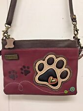 Chala Tan Paw Print Maroon Mini Crossbody Bag Small Convertible Dog Purse New
