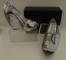 NIB Report Signature Silver Sequin Peep Toe Platform Wedge Pumps Sling 8M