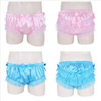 Sissy Men Satin Lingerie Ruffle Sleepwear Boxer Brief Underwear Panties Knickers