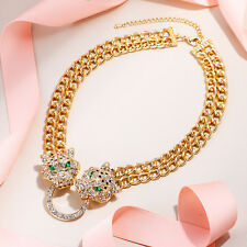 Leopard Panther Animal Choker Necklace Austrian Crystal Gold Plated Women Party