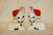 Vintage Christmas Ceramic Reindeer Deer PairWhite Santa Hat Large