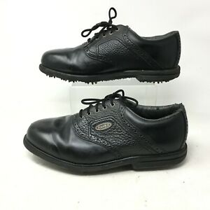 FootJoy Oxford Golf Shoes Cleats Mens 9.5W Low Top Lace Up Leather Black 57737