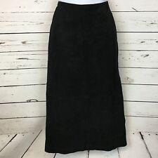 Liz Phillips Vintage Retro 1990's Womens Suede Midi High Slit Skirt Black 11/12
