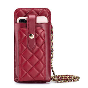 Women's Leather Card Holder bag Ladies phone Purse Coin Case Chain Crossbody bag
