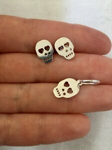 Reminiscence Paris 925 Sterling Silver Skull Stud Earrings & Pendant Set Goth